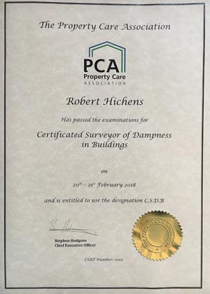 PCA Certificated Surveyor of Dampness in Buildings CSDB